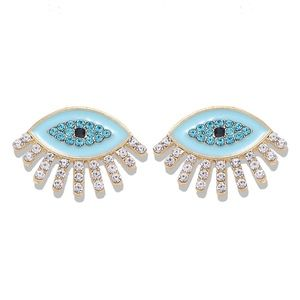 Gold-tone plated evil eye stud earrings BLUE NAZAR